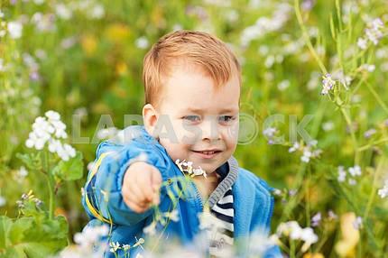 Счастливый мальчик наслаждаться на лугу