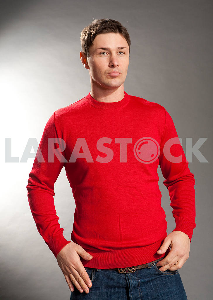 Young men dressed in red sweater  — Image 10166