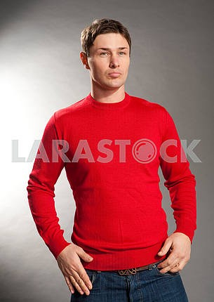 Young men dressed in red sweater