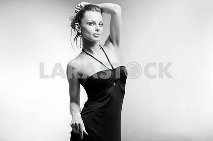 Beautiful Young woman in black dress