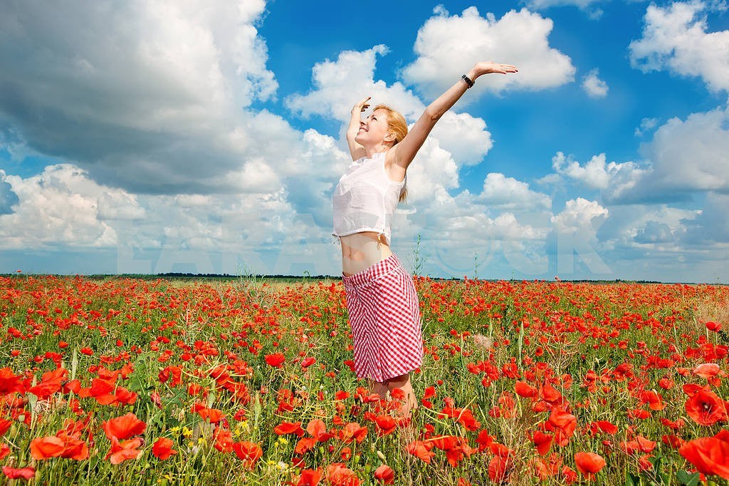 Girl in a field of poppies — Image 10633