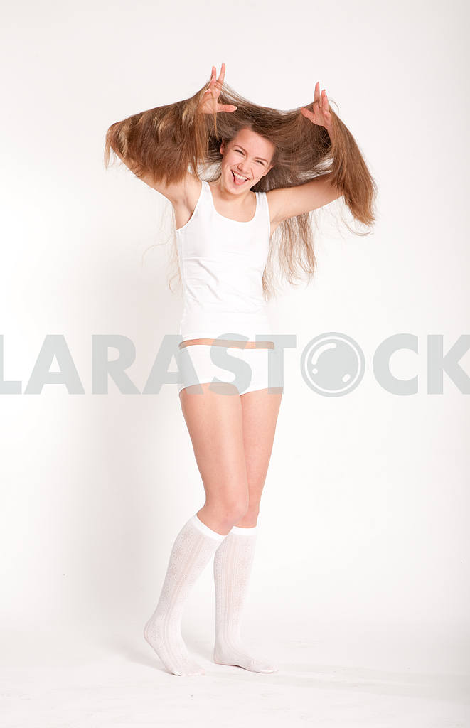 Young underwear model fun on a white background — Image 10865