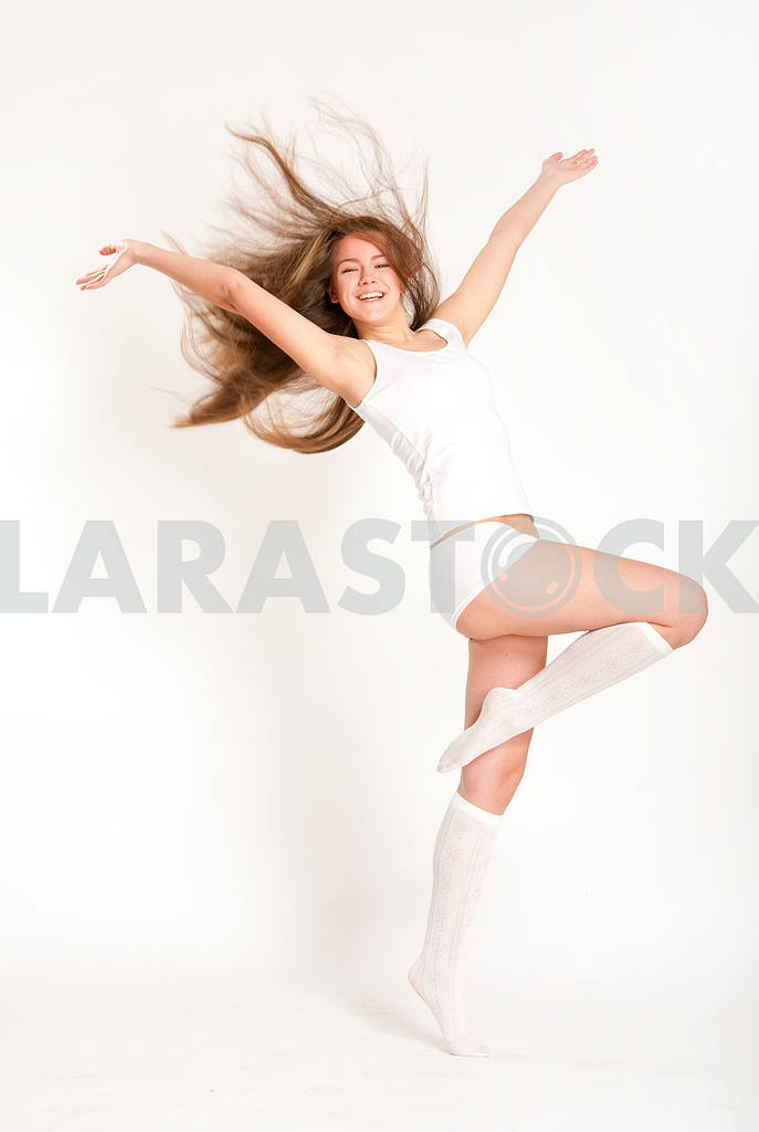Young underwear model fun on a white background — Image 10866