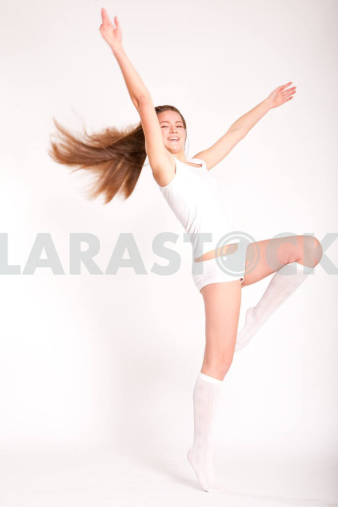Young underwear model fun on a white background — Image 10867