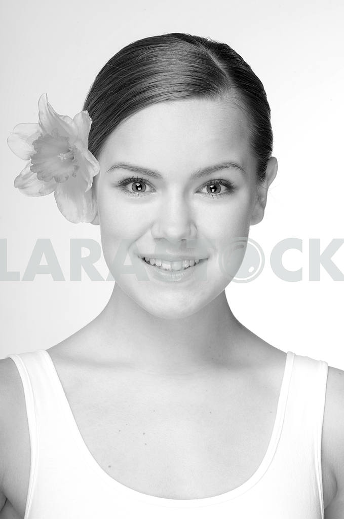 Black and White Portrait Beautiful girl with flower. Focus on ey — Image 10897