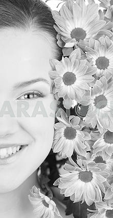Black and White Attractive girl face with flowers