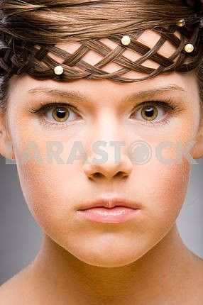 Hairstyle. Soft focus. Focus on eyes