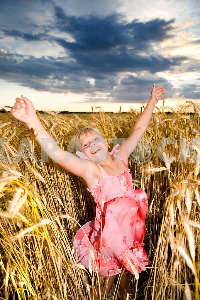 Little girl jumps in a wheat field. Against backdrop of cloudy s — Image 11603