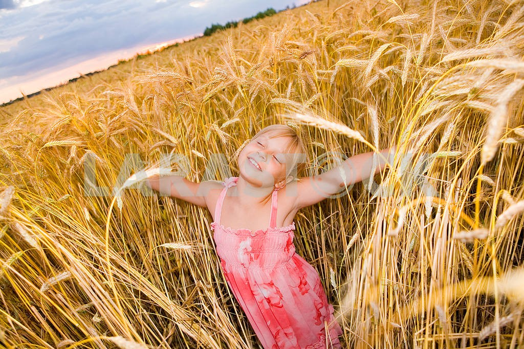 Little girl in a wheat field with open arms — Image 11614