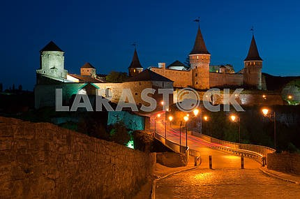 The fortress in Kamianets-Podilskyi.Night
