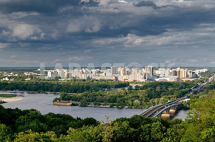 Kiev.View of left Bank and  the metro bridge