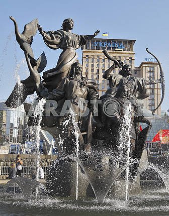 Monument to the founders of Kiev on Independence Square in Kiev.