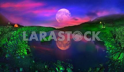 lake Marmarosha and Moon