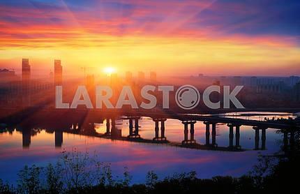 Моста Патона на рассвете
