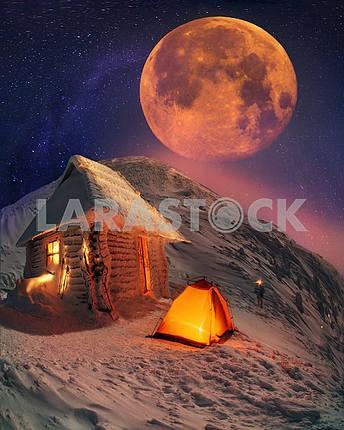 Lunar landscape on winter Goverle