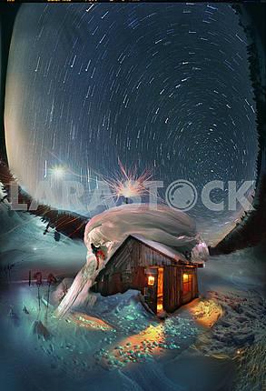 Восход луны на ночном звездном небе