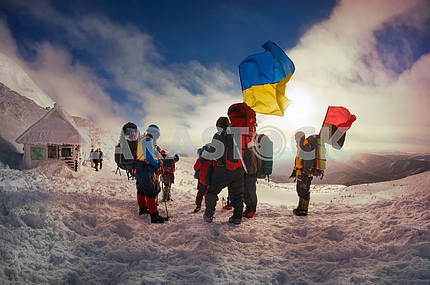 Flags of Ukraine climbers