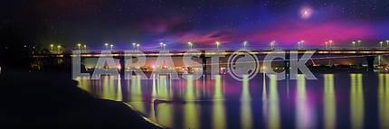 Мост имени Е. О. Патона ночь