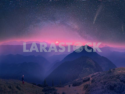 Carpathians, the moon and stars on the background
