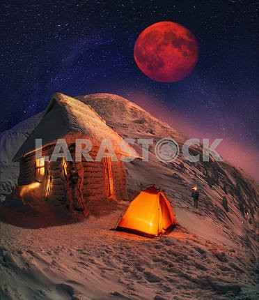 Lunar landscape on winter Goverle