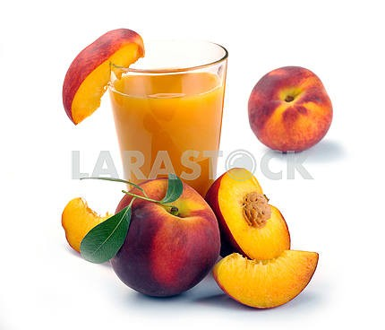 Peach juice in glass of fruit