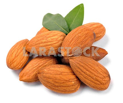 Group of almond nuts with leaves