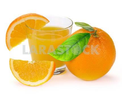 Full glass of fresh orange juice and fruit