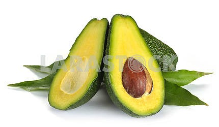 Ripe sliced avocado isolated
