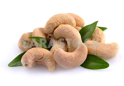 Ripe cashew nuts with leaves