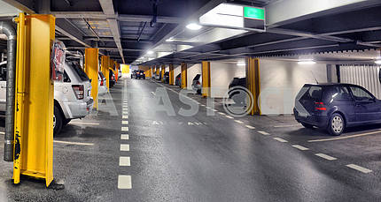 Panorama of underground parking