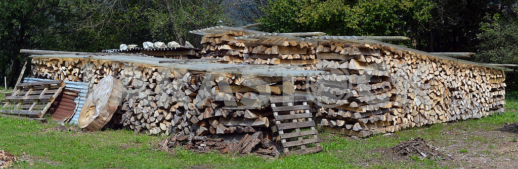 Firewood for heating stacked in piles — Image 17720