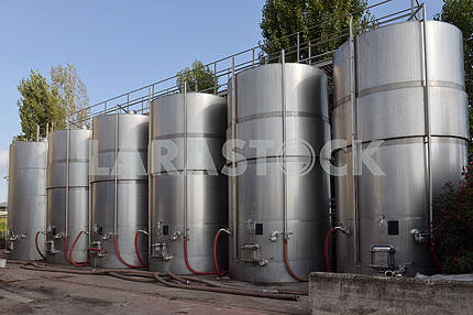 tanks with wine at the winery