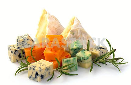 Set of cheese with mold and camembert