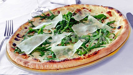 Pizza with mushrooms and parmesan cheese
