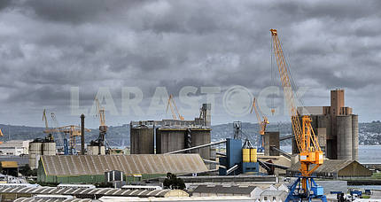 Cargo crane, ship and grain