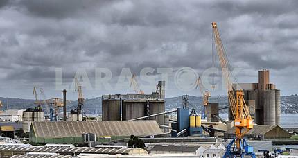 Cargo crane, ship and grain