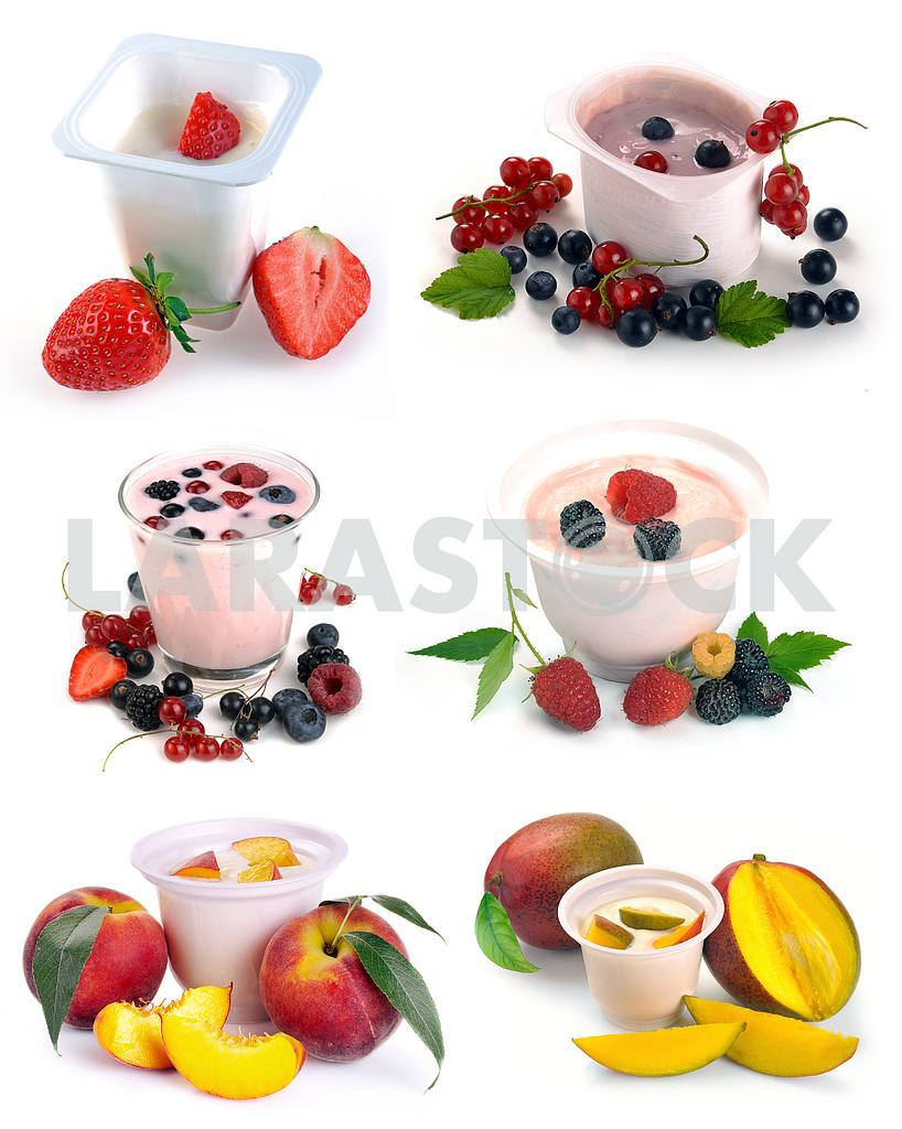 Set of images of fruit and yogurt with berries — Image 17993