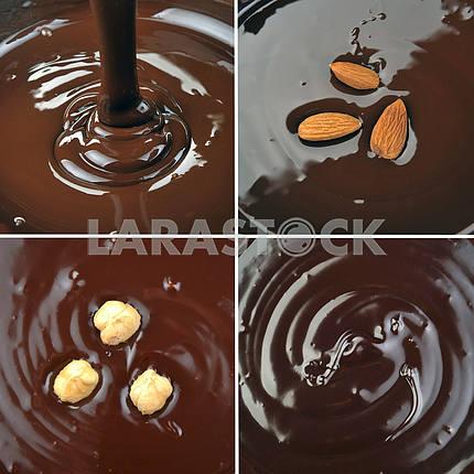 Набор изображений с заливки шоколада и орехов