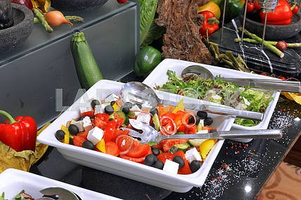 Greek salad on a buffet table