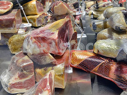 Prosciutto in a shop window