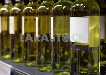 White wine in bottles