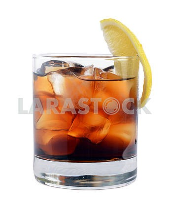Cocktail with ice cola whiskey