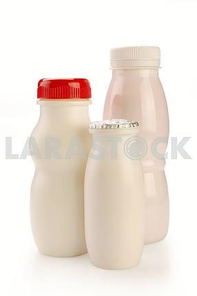 Various bottles of yogurt