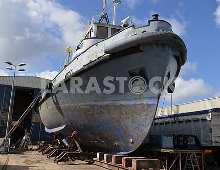 Vessel under repair process in dry dock
