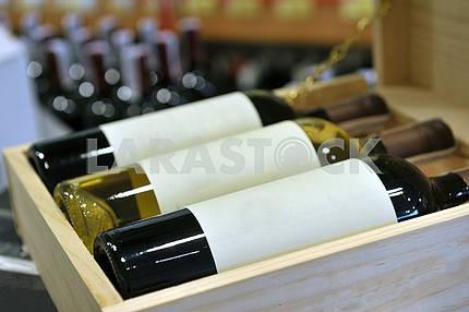 Wine in bottles in wine shop