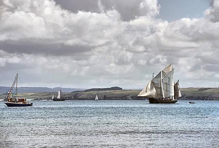 The ship sails at sea