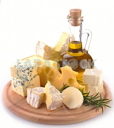 Collection of cheeses and olive oil