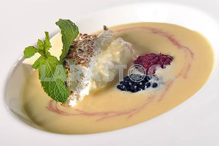 Dessert with custard and whipped cream