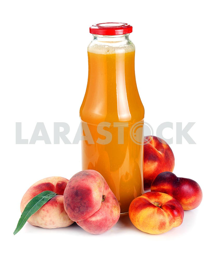 Peach juice in a bottle and fruit  — Image 18445