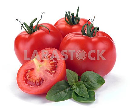 red tomatoes with basil